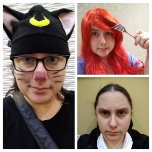 Collage of Kimberly Hirsh in 3 costumes: Luna (cat version), Ariel, Wednesday Addams