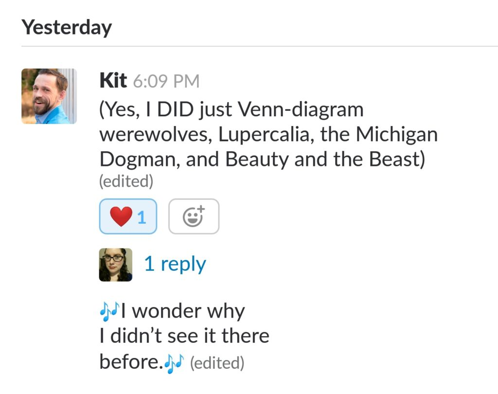 (Yes, I DID just Venn-diagram werewolves, Lupercalia, the Michigan Dogman, and Beauty and the Beast)