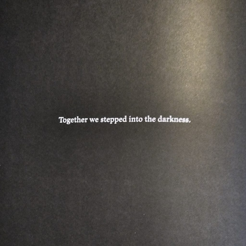 Together we stepped into the darkness.